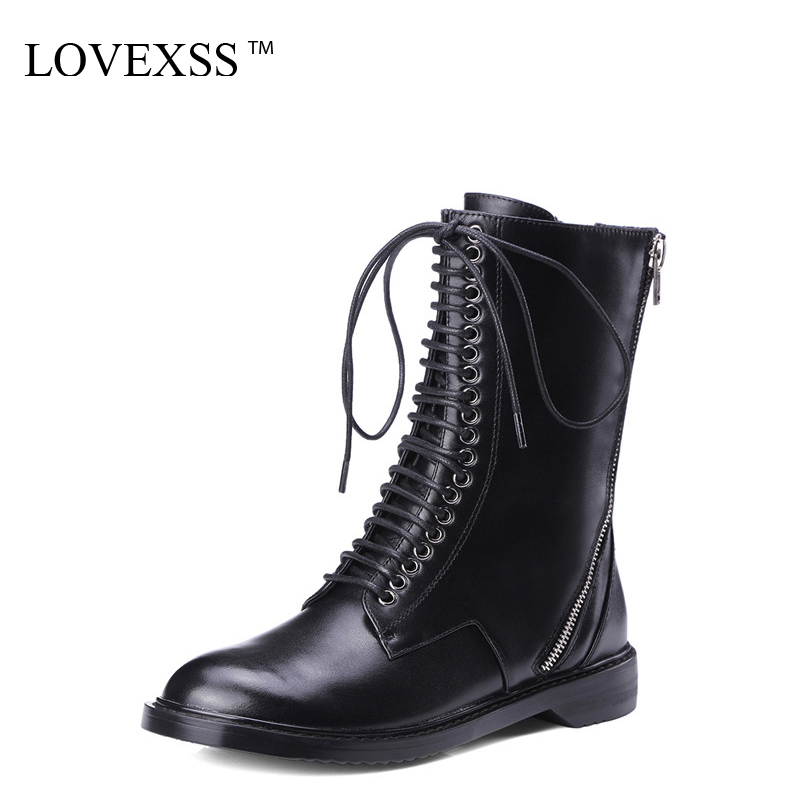 LOVEXSS Woman Genuine Leather Riding Boots Black Autumn Winter Lace Up Martens Boots Zipper Chelsea Punk Boots 2017 Gothic Shoes lovexss genuine leather chelsea boots fashion warm plush high lace up woman martin boots black brown thick with bullock shoes