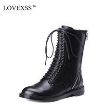 LOVEXSS Woman Genuine Leather Riding Boots Black Autumn Winter Lace Up Martens Boots Zipper Chelsea Punk Boots 2017 Gothic Shoes