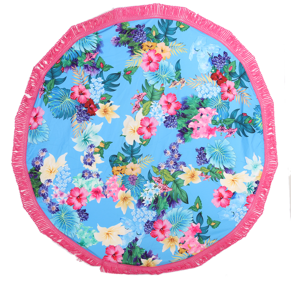 Round Beach Towel Bath Towels Tassel Geometric Print Summer Women ...