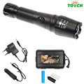 Aluminum flashlight zoomable led rechargeable hand light for 18650 or aaa battery,gift box(pack)