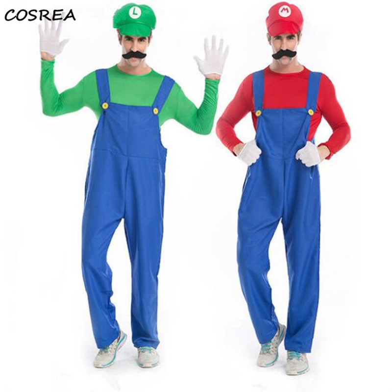 Adults Funy Super Mario Luigi Brothers Plumber Cosplay Costume For Men Boys Halloween Fancy Dress Party Costumes DropShipping