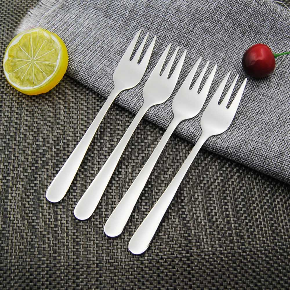 4 Pcs Stainless Steel Cocktail Dessert Fork Tasting Appetizer Cake Fruit Forks