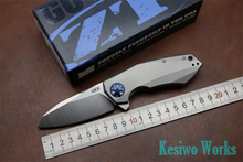 Titanium folding knife Green thorn ZT0456 Flipper Pocket EDC knife 59HRC D2 Blade outdoor utility survival knife bearing knife
