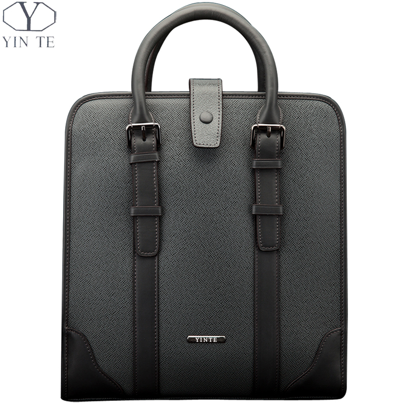 YINTE Fashion Men's Briefcases Leather Business Men Handbag Zipper Bags Blue Color Shoulder Bag Men's Totes Portfolio T8248-1 mengzhongmeng south africa ostrich leather women handbag fashion lady business bags briefcases female cross section 5 color