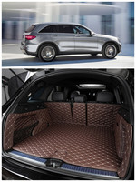 For Mercedes Benz GLC Class X253 2015 2018 Full Rear Trunk Tray Liner Cargo Mat Floor Protector foot pad mats Embroidery Leather