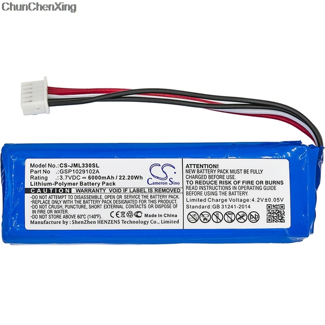 Cameron Sino 6000mAh Battery GSP1029102A(CS-JML330SL) for JBL Charge 3, please double check the place of 2 red and 2 black wires