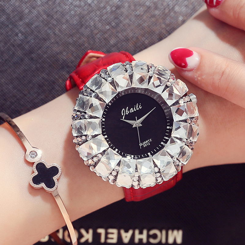 Women Watches Big Bling White Rhinestone New Fashion Design Quartz Watch Women Dress Luxury Wristwatches Leather Band Strap Gift kingsky new fashion small women watches famous design quartz watch black pu leather strap wristwatch