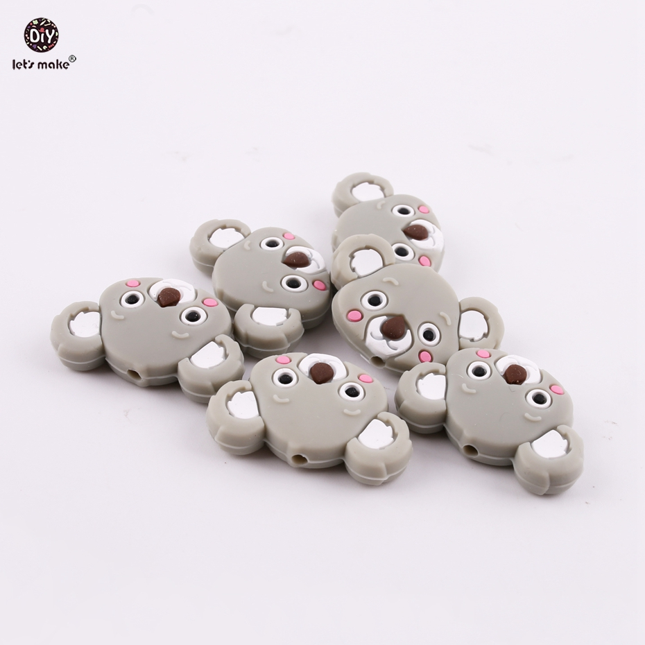 Lets Make Gray Mini Koala 6pcs Cartoon Silicone Animals Teether Chew Beads Girls and Boys Nursing Necklace Making Baby Teether