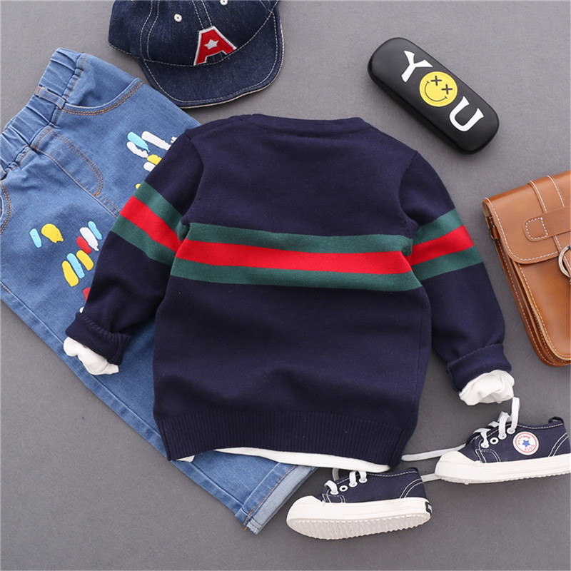 e2ad7c8f0 2018 Boy Sweaters Striped Cotton Top Warm Sweater For Boys Knitting ...