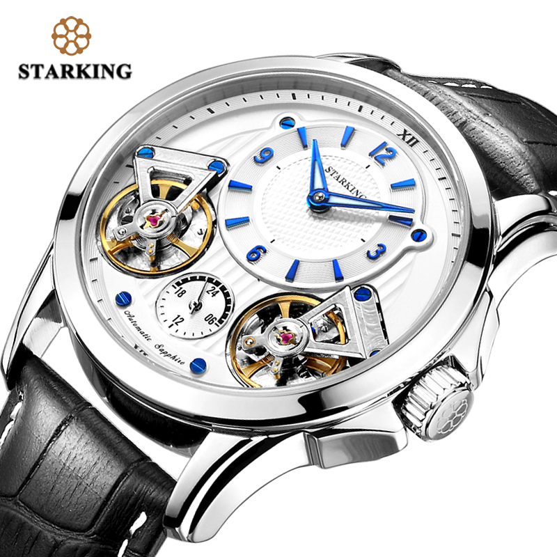 STARKING Men Watches Top Brand Luxury Double Tourbillon Leather Mechanical Watches For Men Waterproof Hind wind Steel Wristwatch|Sports Watches| |  - title=