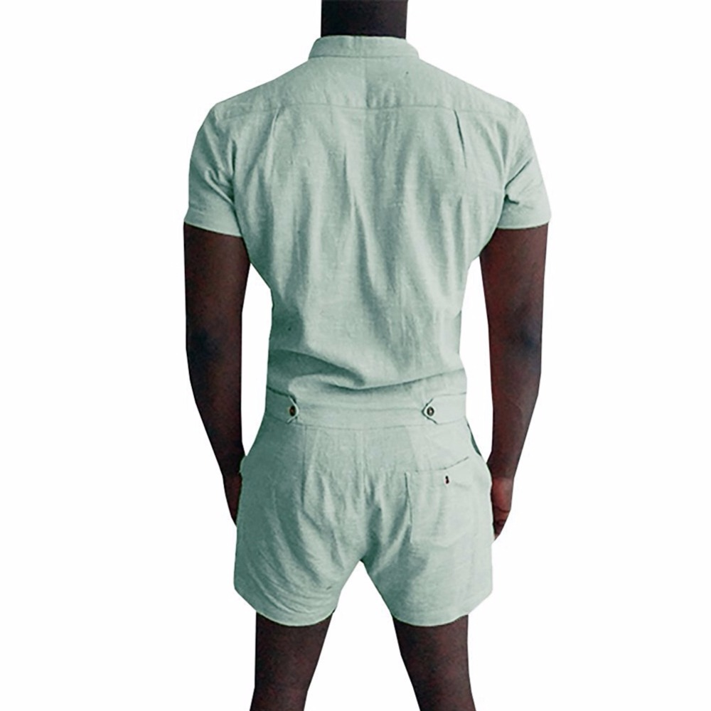 a3af92c16e8 Aismz New Summer Unique Romper Men Linen Shirt Short Sets Single Breasted  Jumpsuit Fashion Overalls Tracksuit Casual Cargo Pants-in Men s Sets from  Men s ...