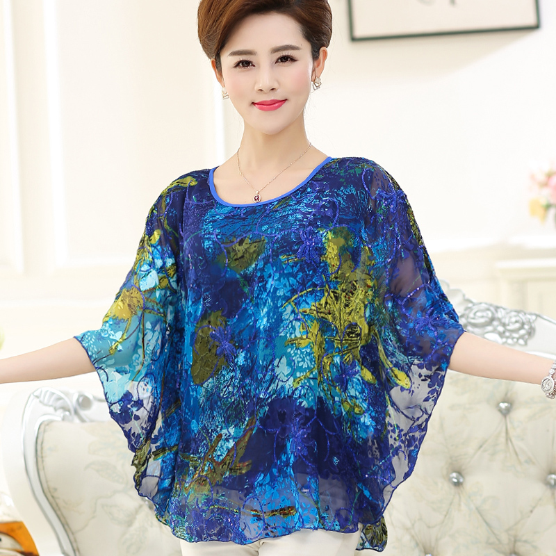 New summer & spring women's plus size silk blouses elegant batwing sleeve ladies loose chiffon silk blouse shirts