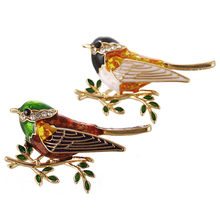 Bella Moda Dello Smalto Colorato Adorabile Sparrow Uccello Animale Spilla Pin Austriaco di Cristallo Spilla di Strass Per Il Partito del Regalo Dei Monili(China)