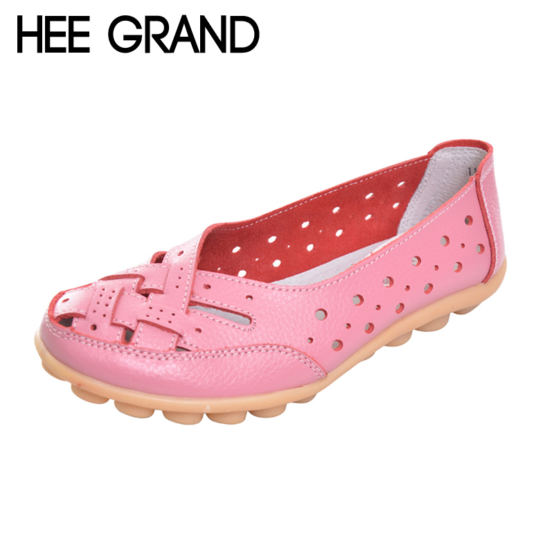 HEE GRAND 2017 Nest Hole Women Shoes Slip On Split Leather Comfort Flats Candy Color Shoes Woman For Mom Big Size 35-44 XWD5820 free shipping candy color women garden shoes breathable women beach shoes hsa21