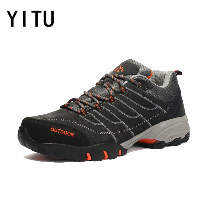 YITU Big Size Winter Hiking Shoes Men Breathable Outdoor Sports Shoes Hunting Camping Anti-skid Trekking Tourism Trend Sneakers 2016 men hiking outdoor winter camping shoes warm plush lining trekking hunting waterproof fish sneakers max size quality shoes
