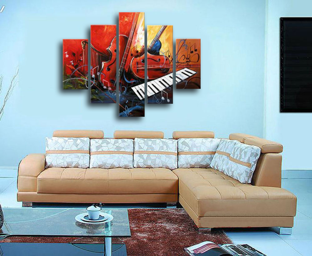 Wholesale Guitar Piano Hand Painted Living Room Wall Art