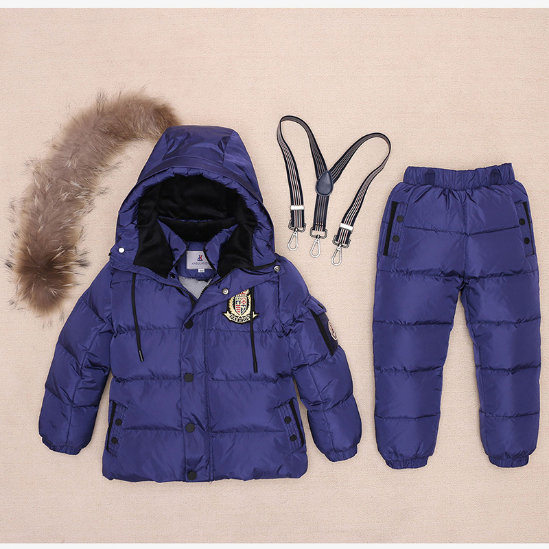 Russia Winter Children Clothing Sets Real Raccon Fur Girl Ski Suit Set Sport Boys Jumpsuit Snow Jackets+ Bib Pants 2Pcs Set