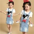 Novo 2016 Primavera e No Verão Vestido de Alça Denim Denim Vestido Da Menina das Crianças Do Bebê Meninas Vestido Ocasional Coreano