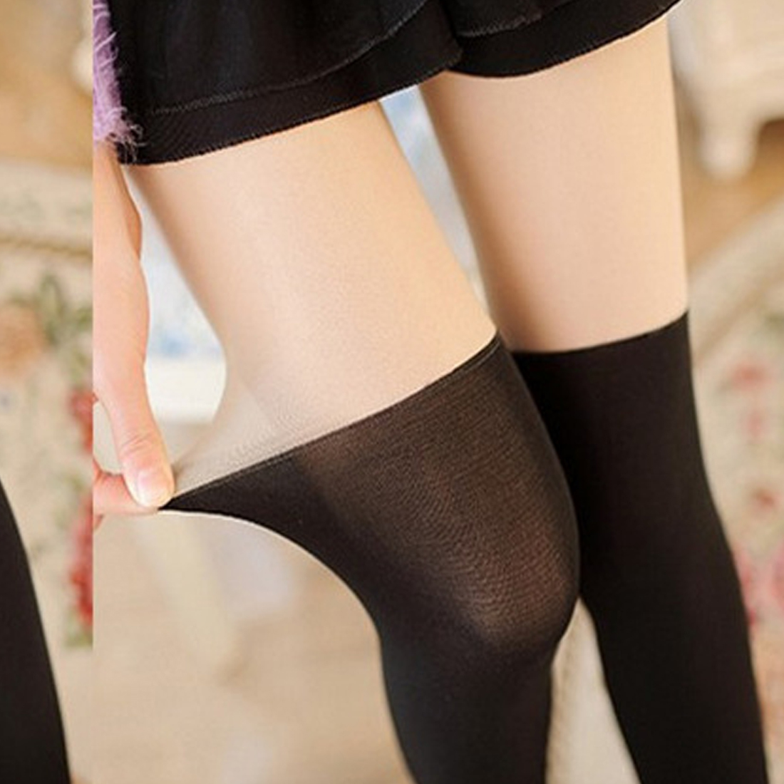 d81c3b1eabb Girl Women Sexy Sheer Splice Stocking Pantyhose Fashion Over the Knee Tattoo  Tights Velvet fake high