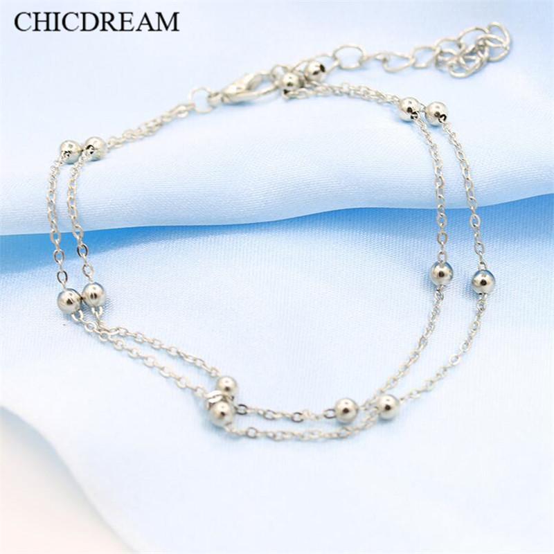 Hot selling Double Fair Simple Metal Beads Anklets Gold/Silver Color Anklets Jewellery Yoga Sandals Brides Barefoot Chain