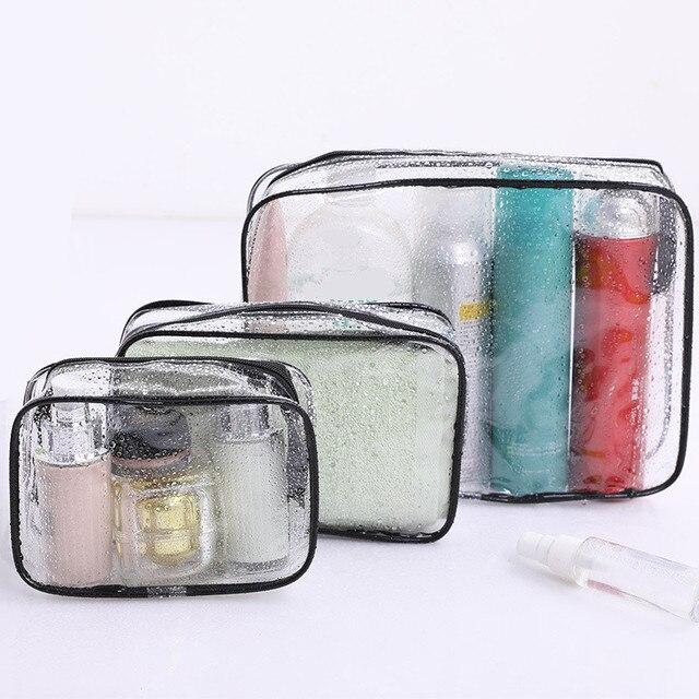 eTya Travel PVC Cosmetic Bags Women Transparent Clear Zipper Makeup Bags Organizer Bath Wash Make Up Toiletry Pouch 4