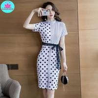 2019 summer new Korean temperament ladies wave stitching stripe strap slim slimming dress women's clothing