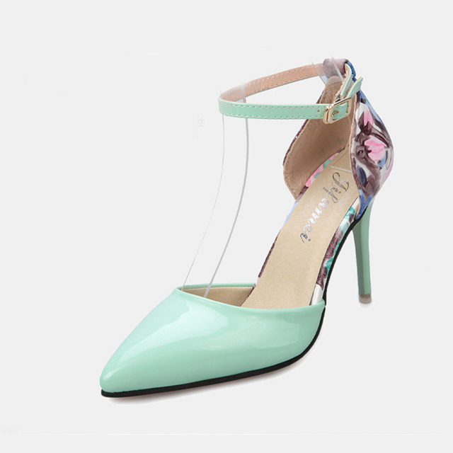 f9e7f64272e Spring sexy High Heels Floral Printed Pointed Toe female shoes Ankle Strap  PU Leather Thin Heels Shoes Woman Summer Style Pumps