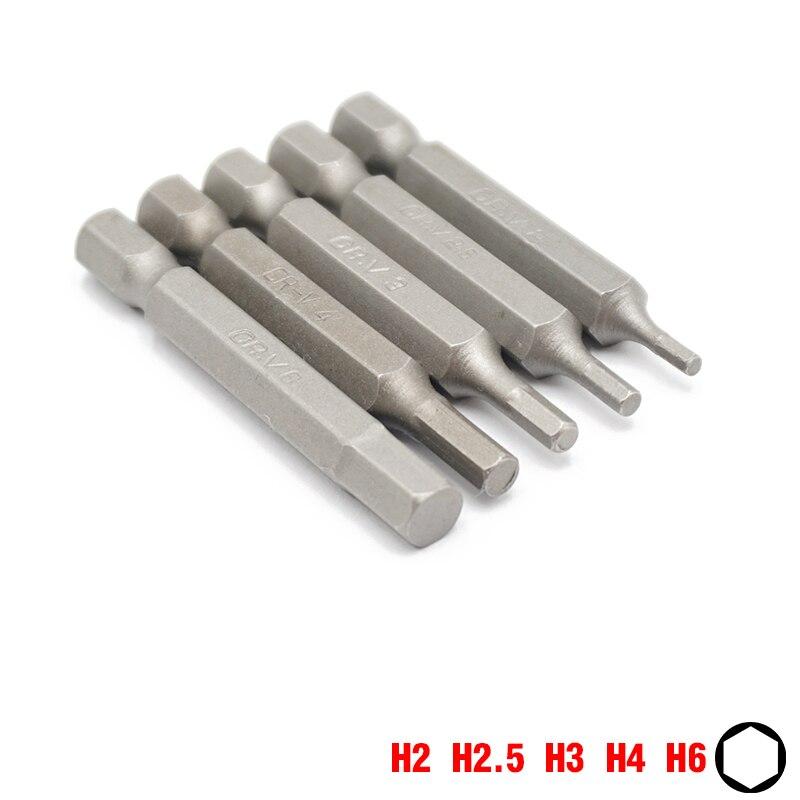 1/4 Inch 6.35mm Hex Shank 50mm Lengte Hex Schroevendraaier Bits H2 H2.5 H3 H4 H6 Huishoudelijke Repari Hand Tool Bit Set