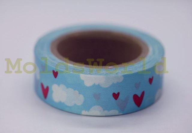 """11 yards Cloud & Cuori Blu 5/8 """"(15mm) Nastro Washi Decorazione Nastro Adesivo di Carta Nastro W8160"""