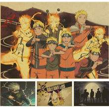 Vintage Retro anime poster anime Posters Uzumaki Naruto Poster Luffy wanted One Piece Bar Cafe Home Decor Wall Sticker(China)