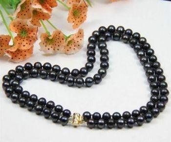 Véritable 2 Rangées AAA 8-9mm Mer Du Sud Collier De Perles Noires 18 Pouces 925 Fermoir En Or Argent