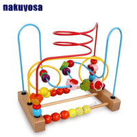 Montessori Counting Fruit Bead Wire Maze Roller Coaster Wooden Early Educational Toy For Baby Kids Chilrden