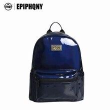 Epiphqny Дизайн Марка Твердые Черный Цвет школьная сумка BLING PU Водонепроницаемый рюкзак Для женщин голографическая рюкзаки личности