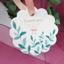 multi-use 50pcs thank you summer leaves design Scrapbooking decoration tags as wedding gift label DIY use