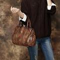 2017 Vintage Women Bag Genuine Leather Female Handbag Rivet Handmade Cow Leather Top Handle Bag Casual Tote
