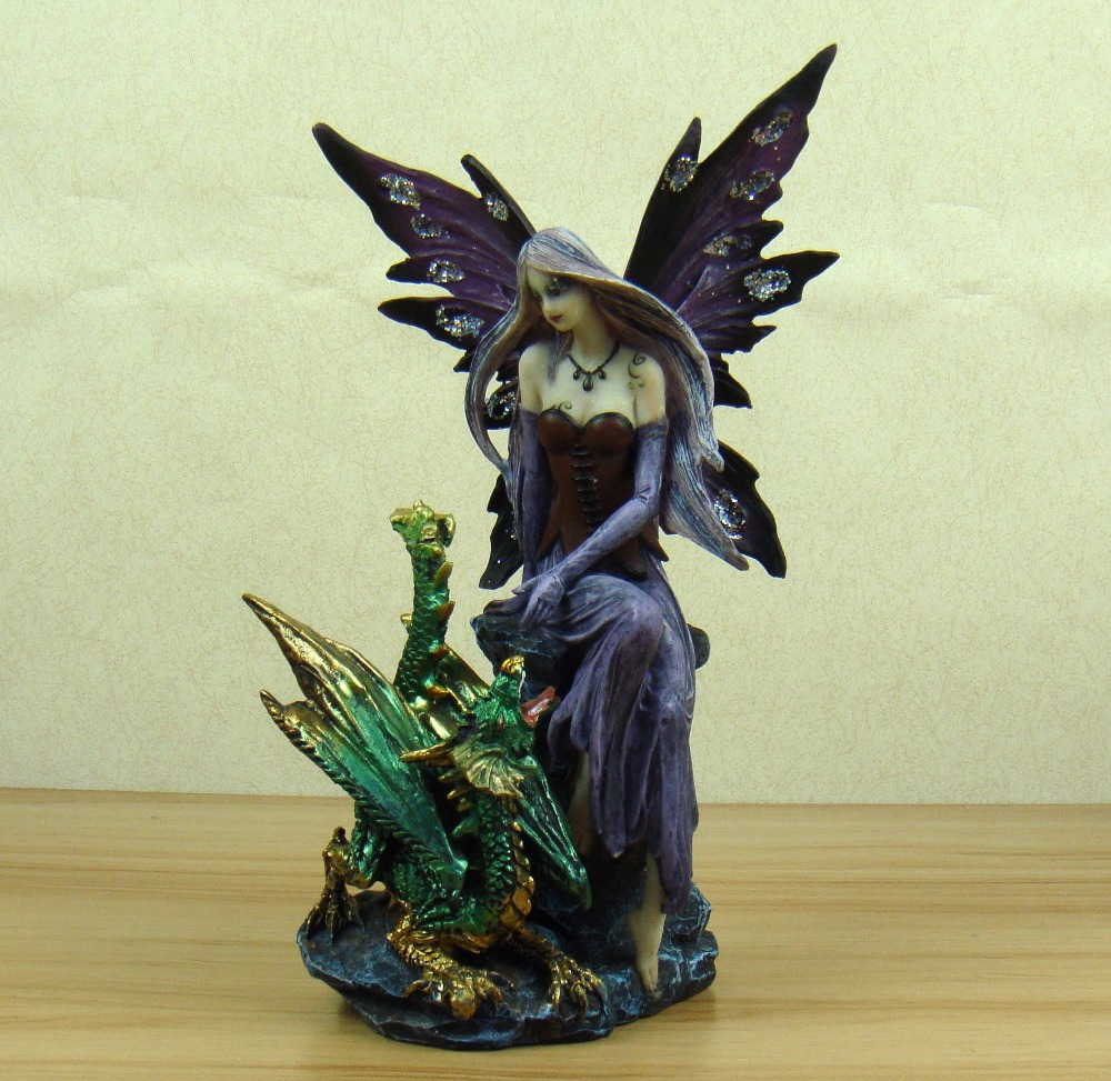 Fairy enchantress and dragon figure statue handmade for Figurine decoration jardin