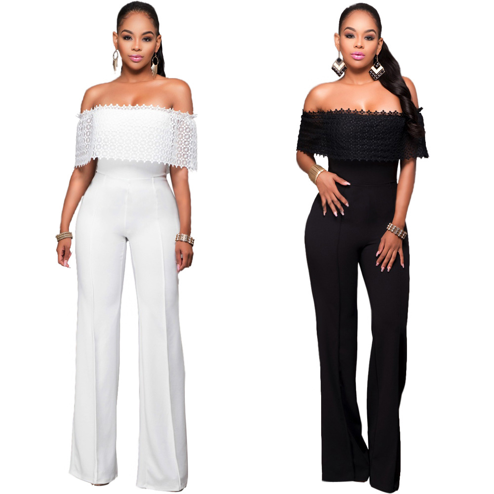 New Women's Fashion Solid Jumpsuit Pure White/Black Sexy Dew Shoulder Strap Jumpsuits Rompers 705