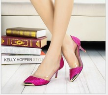 Größe große 33-43 neue 2015 Modeplattform High Heels Metallkopf spitzschuh Sexy Frauen Pumps Hochzeit Schuhe Für Frauen