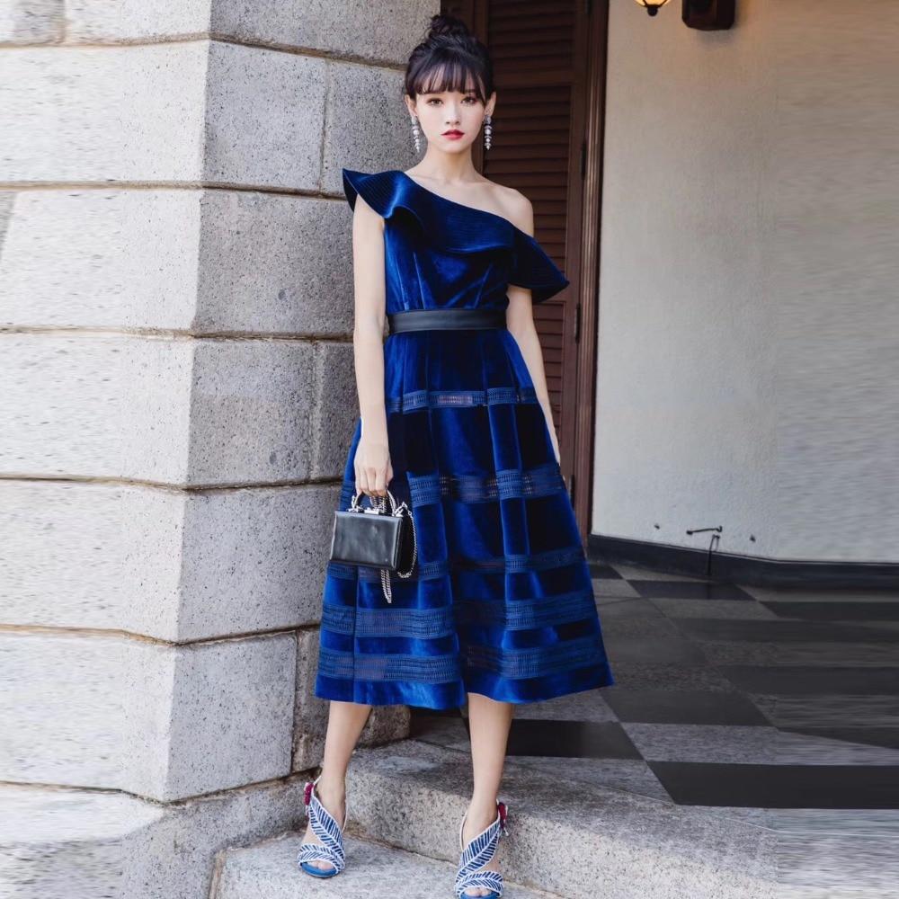 fb37a1e41851 Sexy Women Long Dress 2018 Navy Blue Velvet Dress Oblique Ruffle One  Shoulder Women Ball Gown Midi Dress vestido de festa-in Dresses from  Women's Clothing ...