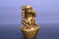 China Brass statue money Monkey fengshui copper Statue