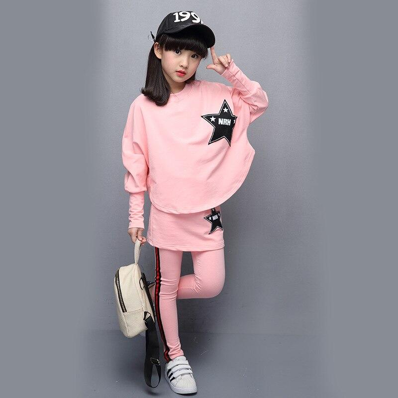 Kids 2017 New Girls Set Cotton Long Sleeves Spring Autumn Casual Bat Shirt Skirt Pants 4