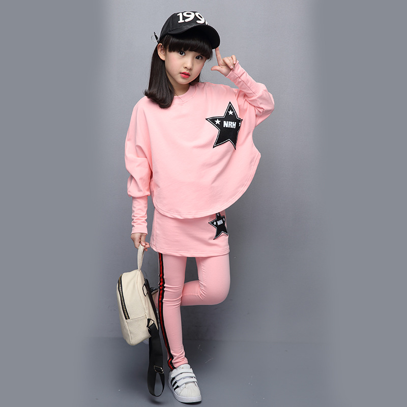 girls clothing set 2018 new cotton long sleeves spring autumn casual bat shirt + skirt pants 4-8- 12-14 years baby girls clothes 2017 new cartoon pants brand baby cotton embroider pants baby trousers kid wear baby fashion models spring and autumn 0 4 years