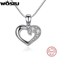 100 Real 925 Sterling Silver Our Hearts Love Pendant Necklaces Clear CZ For Women Girls Jewelry