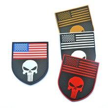 USA America Flag Sniper 3D PVC Punisher Skull DEVGRU PATCH MULTICAM FLAG SHIELD Navy Seal Patches badge