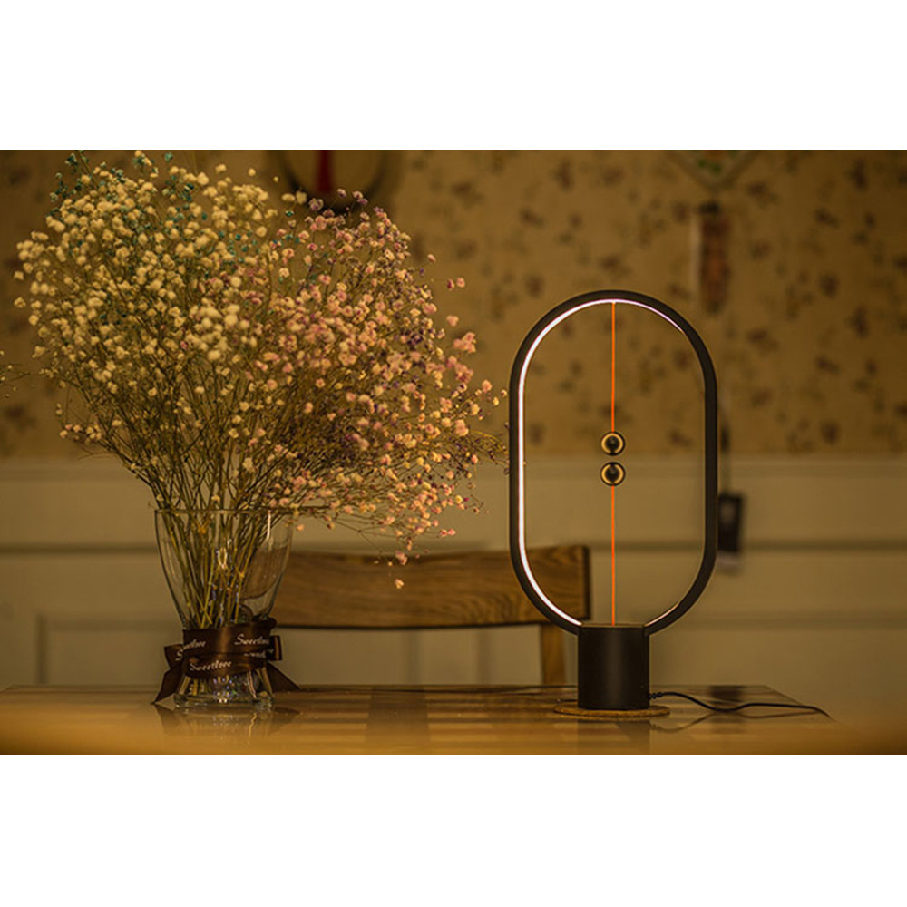 HZFCEW Heng Balance LED Table Lamp Ellipse Magnetic Mid air Switch USB Powered Warm White Eye