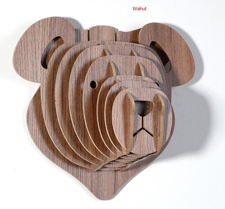 Houten Teddybeer Hoofd voor Wanddecoratie, DIY Ambachten voor ...
