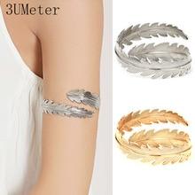 3UMeter Fashion Arm Bracelet for Women Metal Adjustable Cuff Bracelets Leaf Armband Bracelet for Arm Jewelry Gift for Girlfriend retro faux crystal leaf cuff bracelet for women
