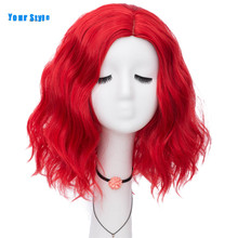Pelucas de pelo corto sintético ondulado para mujer, pelucas de pelo Natural, Color negro, rojo, rosa, Azul, Gris, Naranja, Anime, con tu estilo