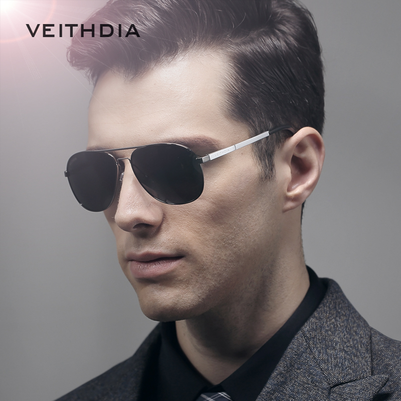 VEITHDIA Aluminum Polarized Classic Mirror Sun glasses Male Eyewear Accessories Goggle Oculos Sunglasses for Men 3364