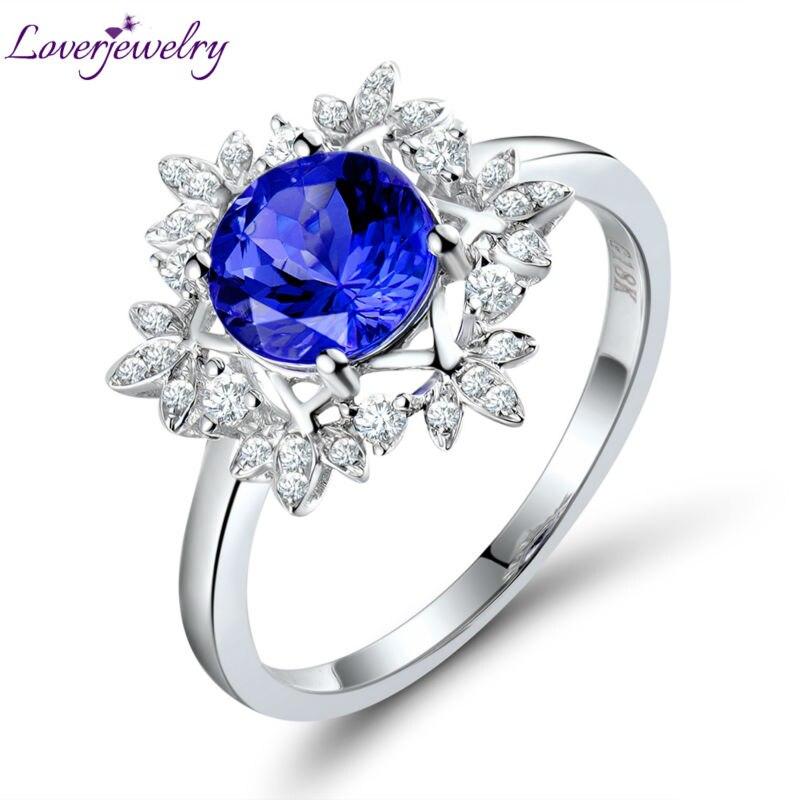 Loverjewelry Vintage Ronde 7x7mm Solide 18 k Or Blanc Naturel Diamant Véritable Tanzanite Bague de Fiançailles Pour Les Femmes fine Jewelry